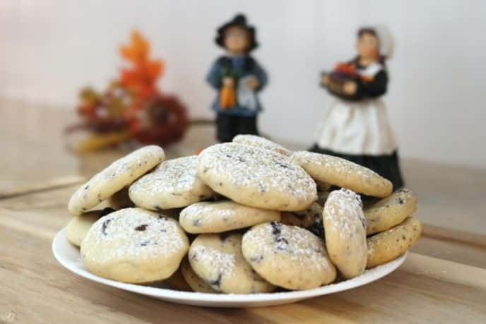 Shortbread Cookies with Chocolate Covered Cranberries