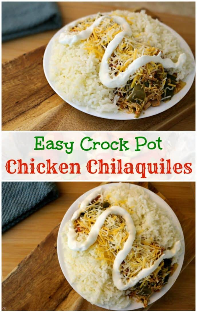 Easy crock pot chicken chilaquiles is on the menu tonight! This EASY chicken chilaquiles recipe will be one you make every week. Check this chicken chilaquiles recipe!