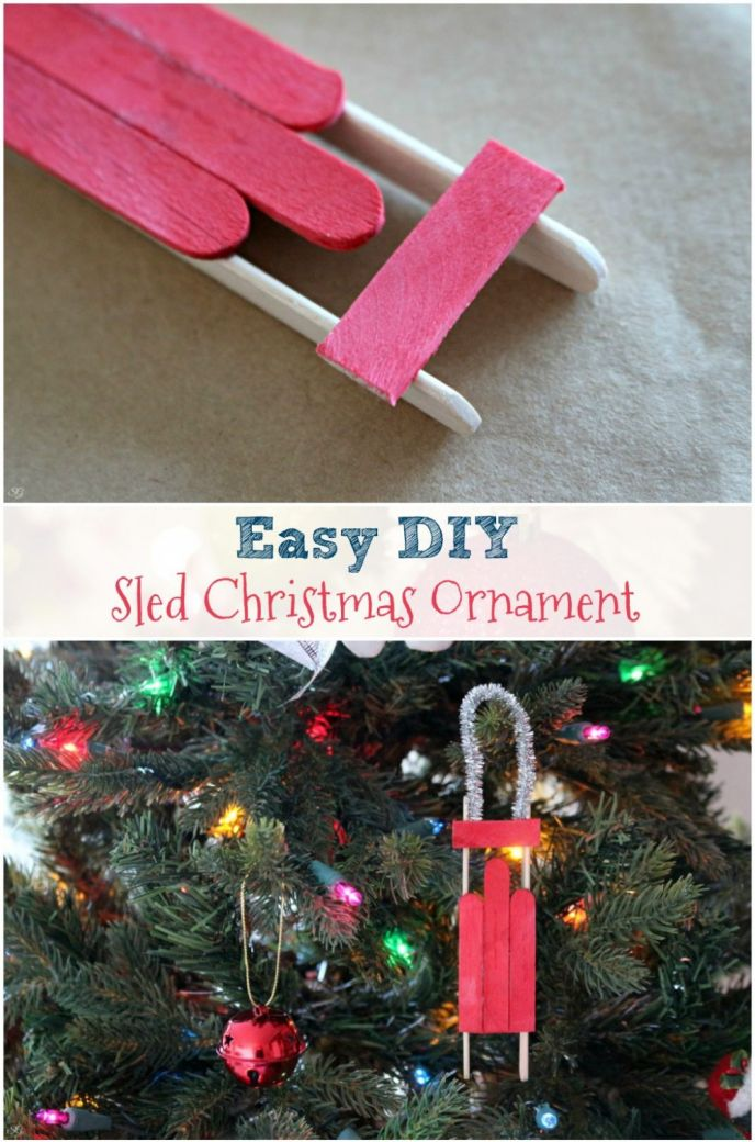 Easy DIY Wood Sled Christmas Ornament. Check out this easy tutorial to build popsicle stick wood sled Christmas ornaments! Build your own sled ornament easily!