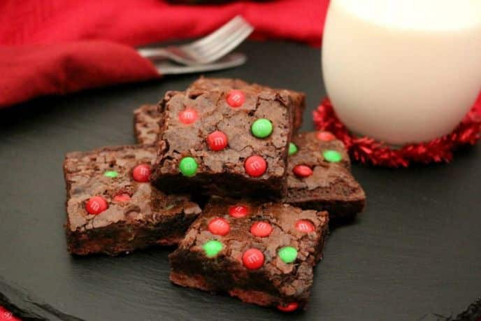 M&M's Chocolate Fudge Holiday Brownies
