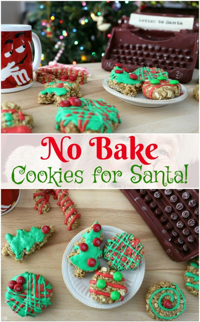 These easy no bake oatmeal cookies are perfect to leave for Santa this Christmas! Check out this super easy recipe for Christmas themed no-bake oatmeal cookies!
