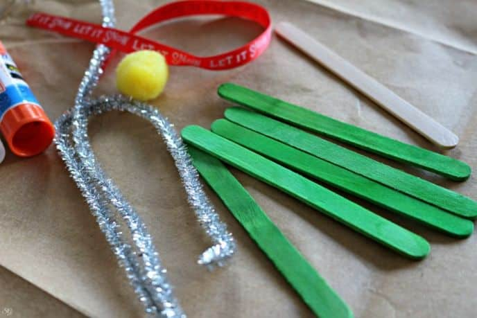 Popsicle Stick Christmas Tree Ornament Materials