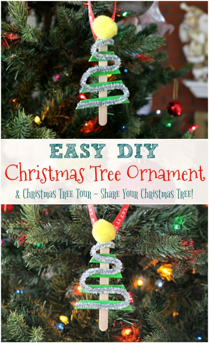 How to make a simple DIY Christmas tree ornament. A great snow day activity, learn how to make this EASY DIY popsicle stick Christmas tree ornament!