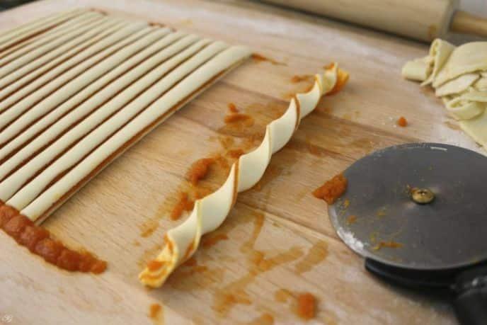 Twisting dough for pumpkin pie pinwheel cookies