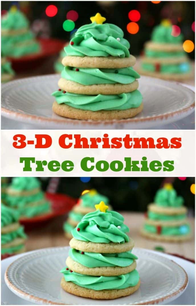 Christmas Tree Stacked Cookies with Buttercream Frosting! Check out this EASY stacked Christmas tree cookie recipe and buttercream recipe!