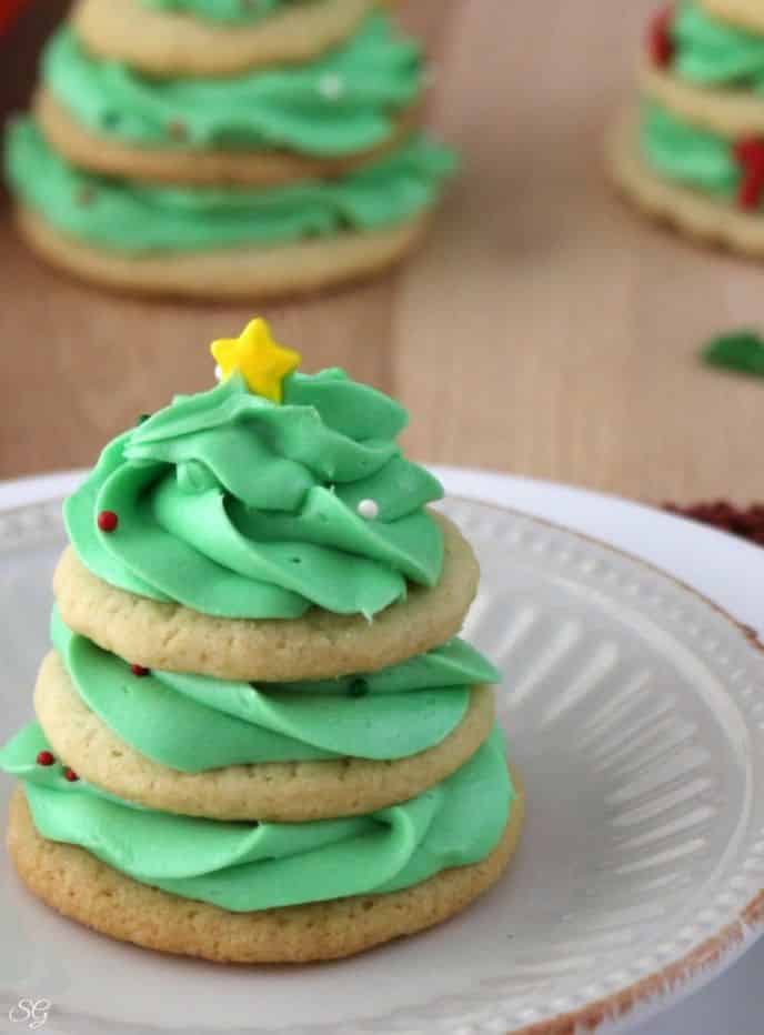 Christmas Tree Sugar Cookies with Buttercream Frosting