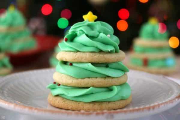 Stacked Christmas Tree Cookies. Sugar cookie Christmas tree recipe