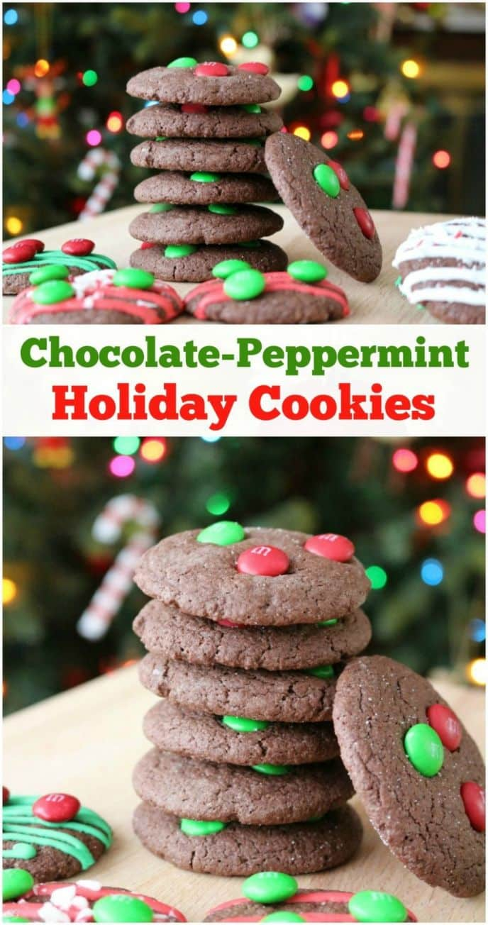 Chocolate peppermint cookies with M&M's candies on top are the perfect holiday treat! These SUPER EASY cake mix chocolate peppermint cookies are packed with flavor! #SweetSquad