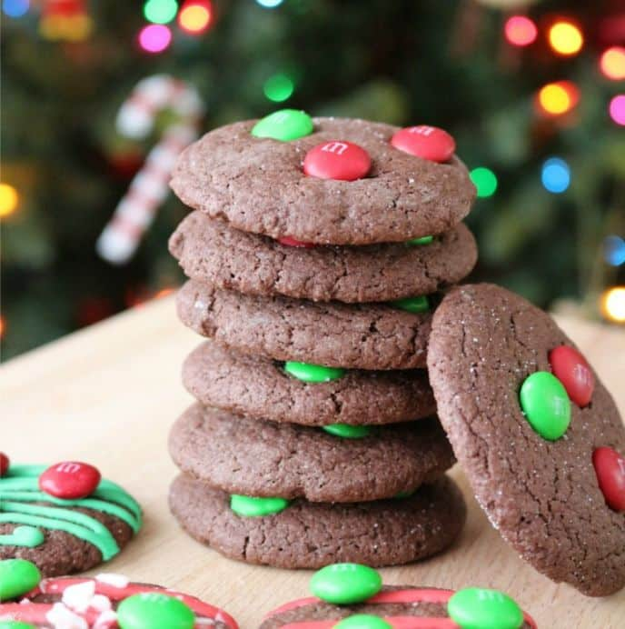 M&M's Chocolate Peppermint Cookies for Christmas