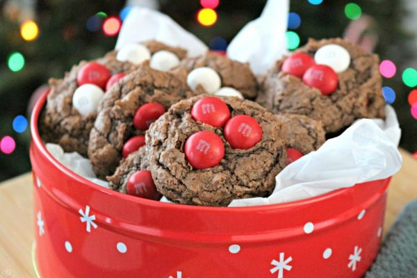 Easy Pillsbury Fudge Brownie Cookies with White Peppermint M&M's