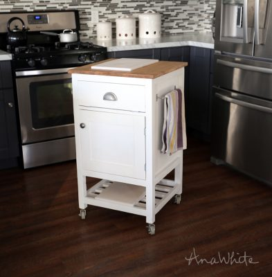 Space saving small DIY kitchen island cart