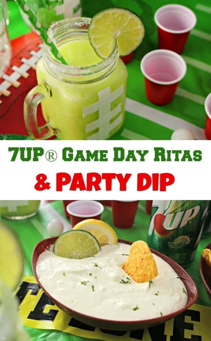 Lemon Lime Margaritas and Party Dip! Rock your football party with tasty drinks and food infused with 7UP®!
