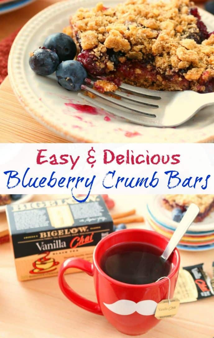 Easy Blueberry Crumb Bar Recipe. Check out this easy and delicious blueberry crumb bar recipe served with delicious vanilla chai tea! #TeaProudly