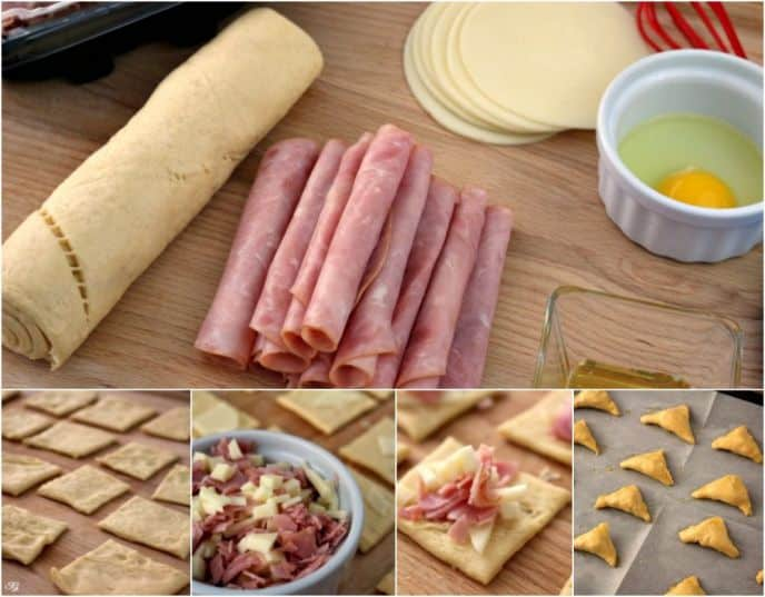 Ingredients to make Ham and Cheese crescent dippers