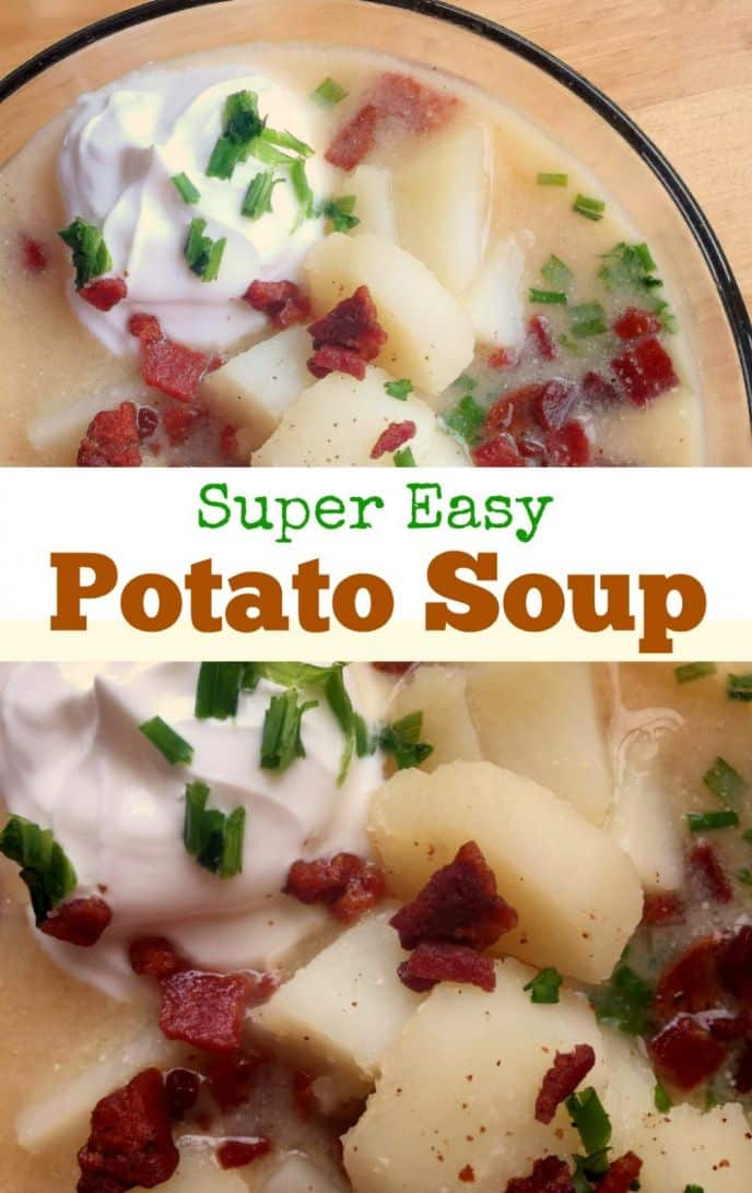 Potato soup in a bowl is comfort food at it's finest, this potato soup recipe is easy to make and delicious, too.