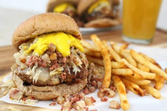 Easy Corned Beef Hash Burger Recipe. A super easy brunch recipe for corned beef hash and sauerkraut burgers.