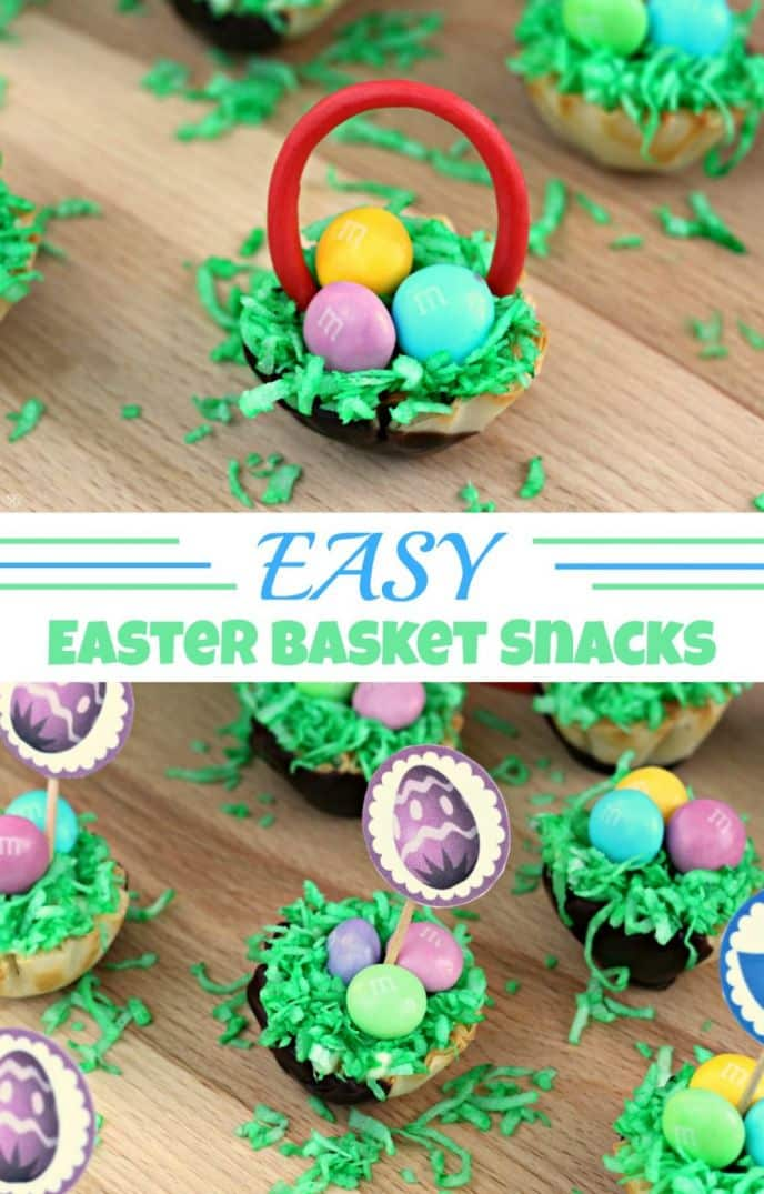 This fun Easter basket recipe is made with vanilla pudding, coconut and our favorite Easter M&M's® candies! Check out this easy Easter basket snack recipe! #SweeterEaster