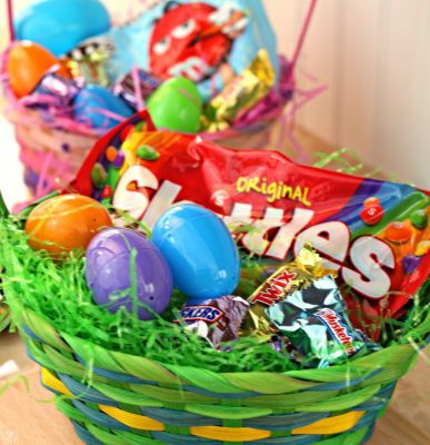 Skittles, M&M's, Snickers, Twix, 3 Musketeers Easter Basket Candy