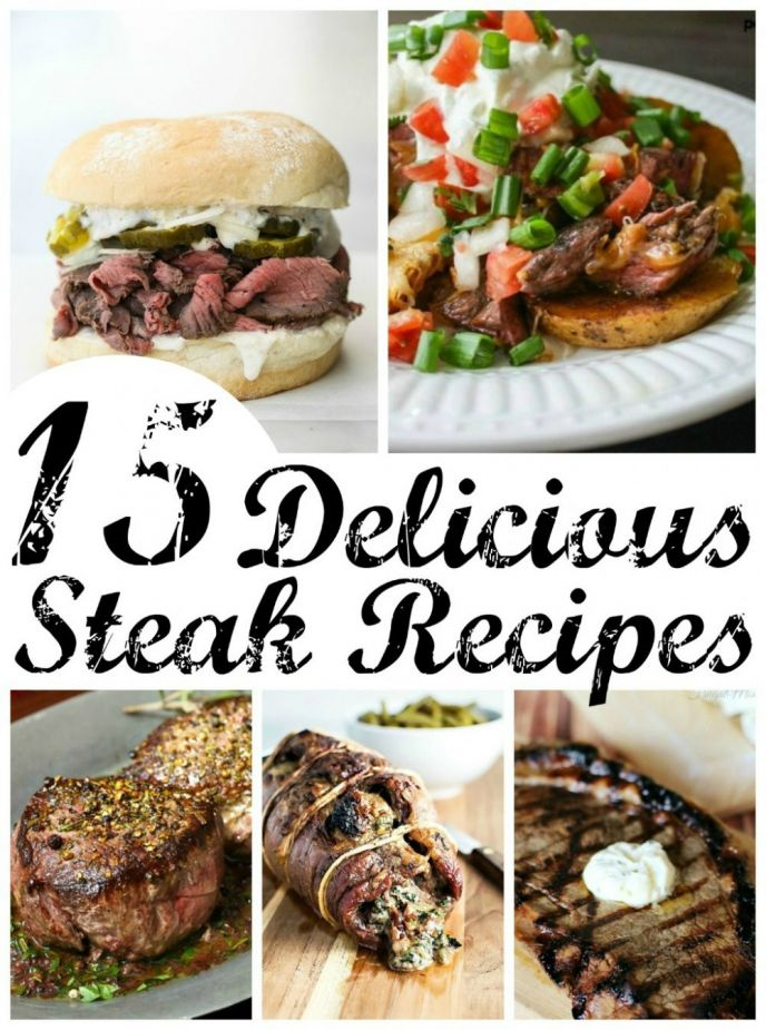 15 Delicious Steak Recipes! Keep these steak recipes handy for when you want a new, exciting dinner or lunch option. We have everything from beer marinated steak to steak salad! Check out these EASY recipes!