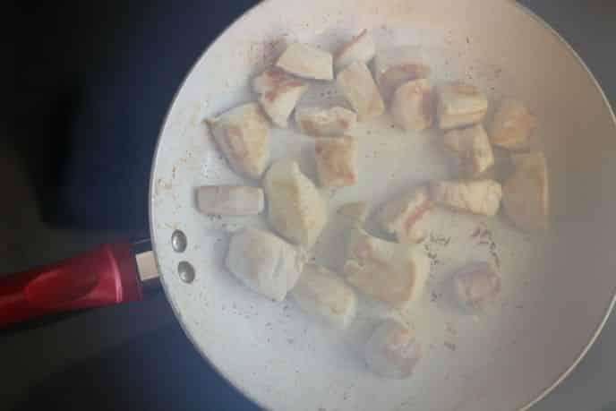 Cooking Chicken in Skillet for BBQ Glazed Chicken