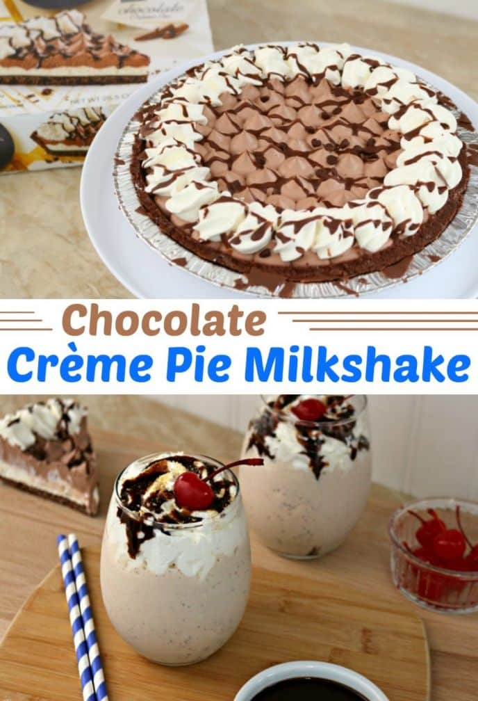 Chocolate Crème Pie Milkshake! Make this EASY chocolate crème pie milkshake with just a few ingredients! See all the ingredients and how to make it and make your own now!