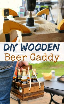 DIY Beer Caddy! Learn how to build this DIY wooden beer holder. Perfect for a six pack of Modelo Espeical! Click to make it now!