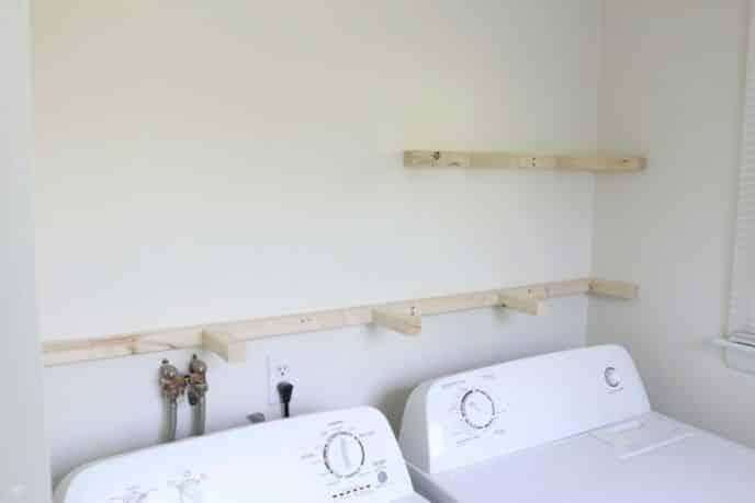 Installing Floating Shelves in Laundry Room