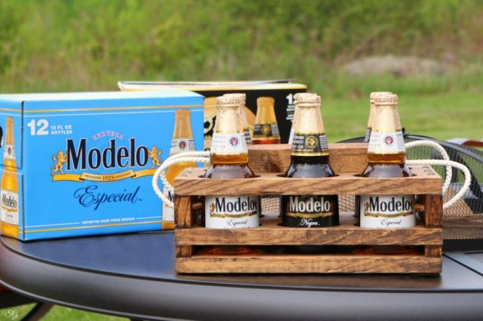 Beer Caddy DIY and Modelo Bottled Beer