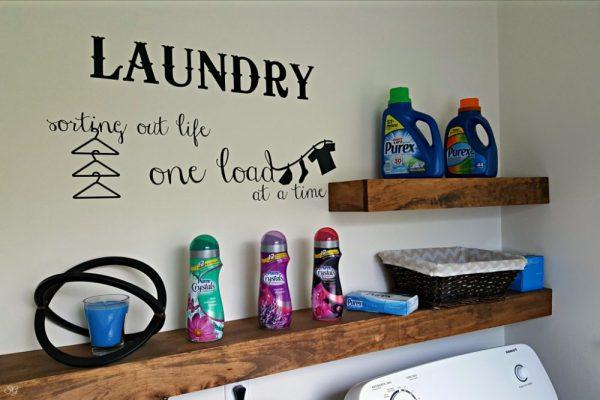 DIY Floating Shelves for Laundry Room