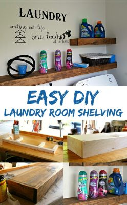 Freshen up your laundry room with this EASY DIY floating shelf project! Learn how to build floating shelves for your laundry room!