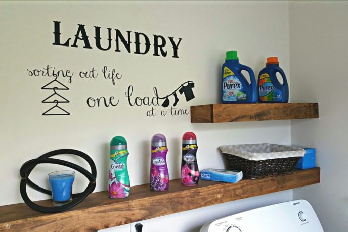 DIY Floating Shelves for the Laundry Room