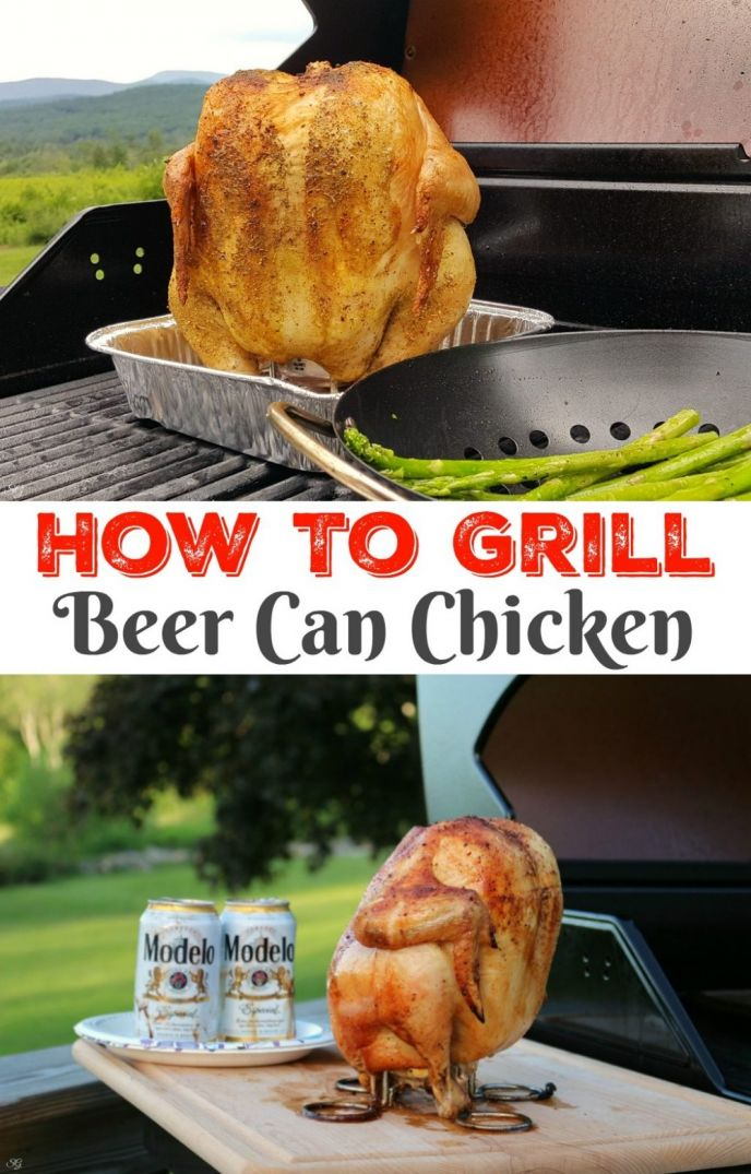 Grilling beer can chicken! Learn how to cook beer can chicken on the grill and in the oven. It's easy, delicious, and you'll want to make it all summer long! #beercanchicken #grillingbeercanchicken #grilling #grill #chicken #grilllingchicken #chickengrilled
