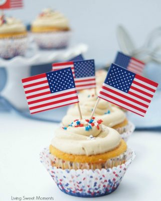 Peanut Butter and Jelly Patriotic Cupcakes with American Flags