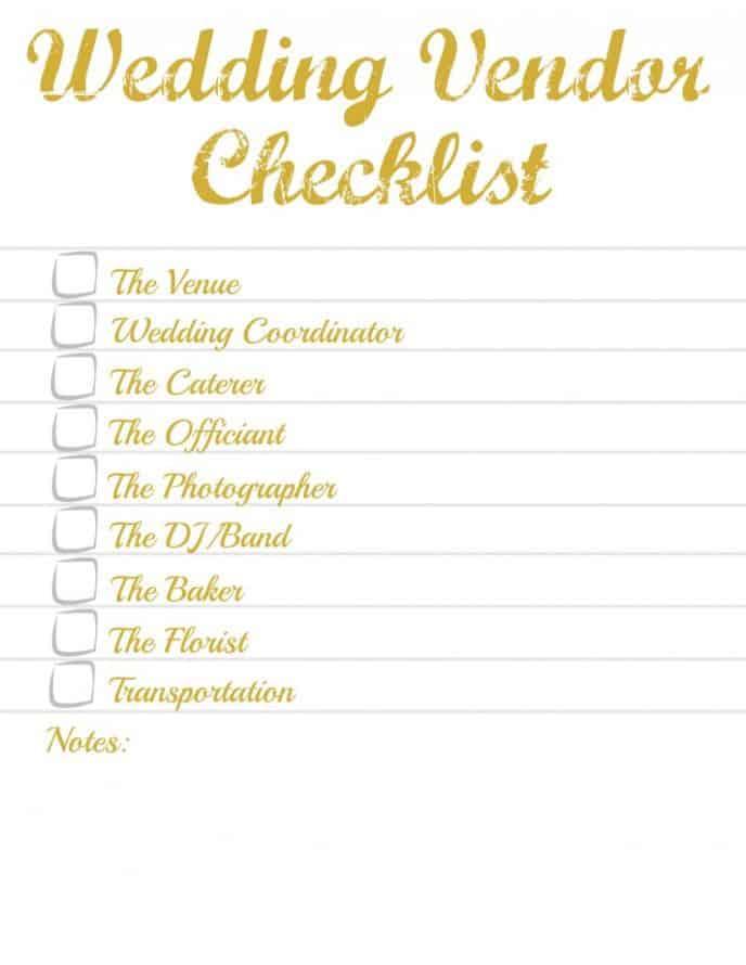 Wedding Vendor Checklist Printable