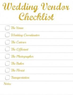 Checklist of Wedding Vendors Needed for a Simple Wedding