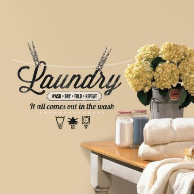 Wash Dry Fold Repeat Laundry Room Decal