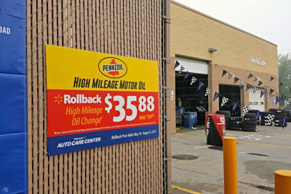 Rollback on Pennzoil High Mileage Oil Change at Walmart