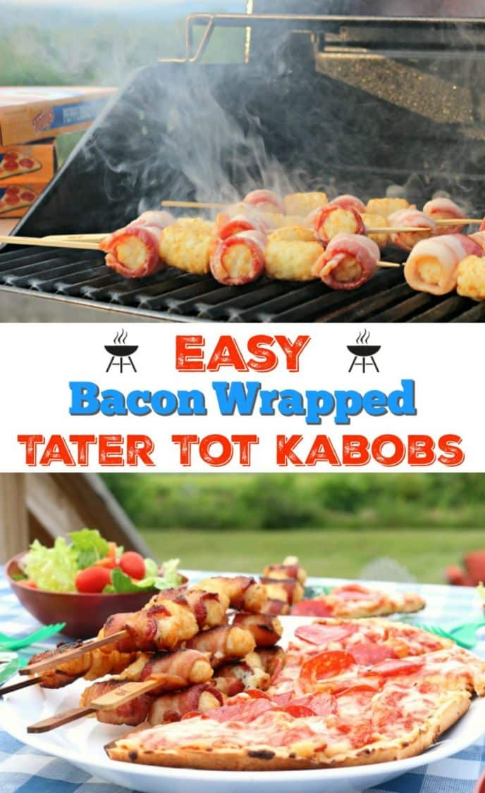Easy Bacon Wrapped Tater Tot Kabobs and Tony's Pizza on the grill! Fire up the BBQ and make these delicious bacon wrapped tater tots and a frozen pizza for an easy weeknight meal!