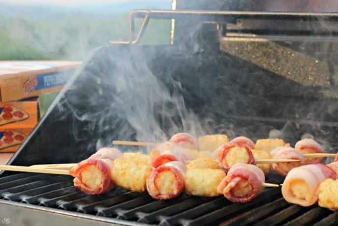 Grilling Bacon Wrapped Tater Tots Kabobs