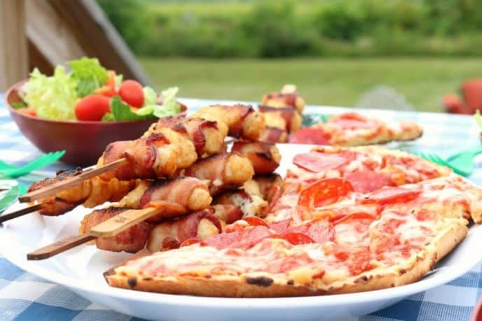 Grilled Frozen Pizza and Tater Tot Kabobs