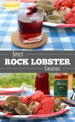 Rock Lobster Cocktail with a kick! This Spicy Rock Lobster Cocktail is made with George Dickel Rye Whiskey which adds a bit of spice with a nice smooth finish. Check out this easy recipe!