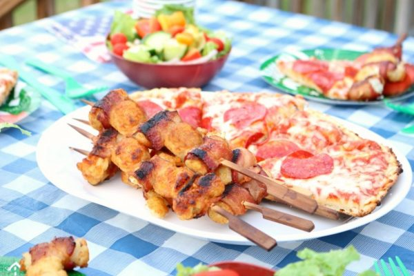 Grilled Bacon Wrapped Tater Tots and Pizza