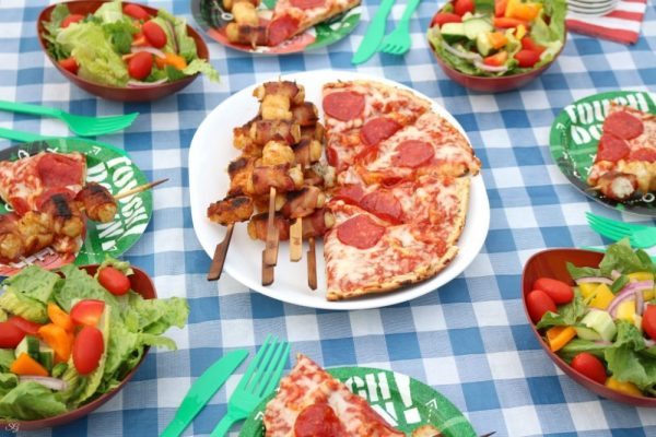 Tater Tots Kabobs and Pepperoni Pizza