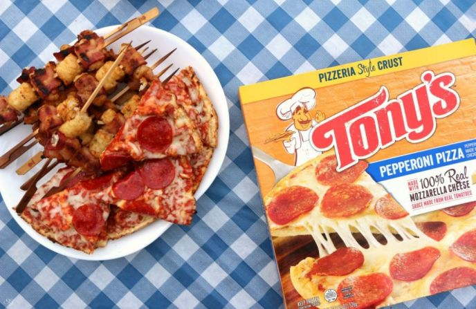 Grilled Bacon Tater Tots Kabobs and Tony's Pizzeria Style Pepperoni Pizza