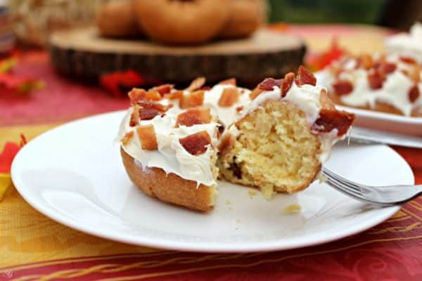 Bacon topped pumpkin donuts
