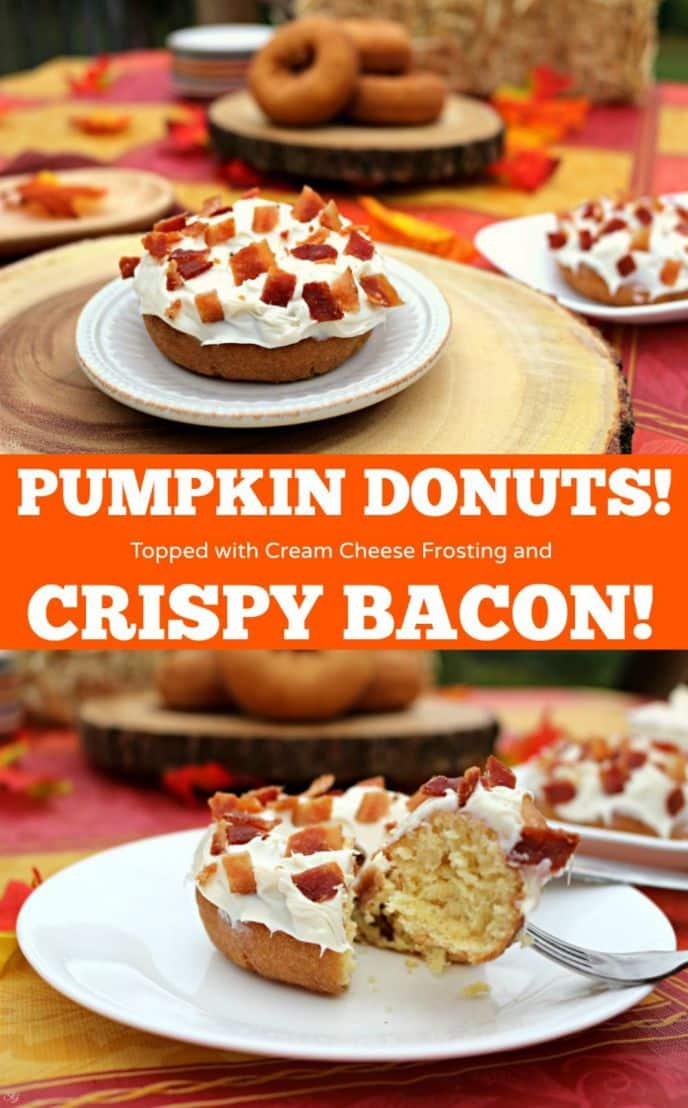 Bacon on top of pumpkin donuts that have been slathered in cream cheese frosting! These bacon topped donuts are delicious and easy to make, get the recipe now!