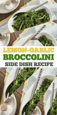 Lemon Garlic Broccolini recipe side dish for Thanksgiving or Christmas! Check out this easy and delicious broccolini recipe