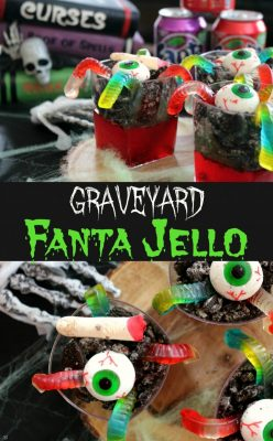 Halloween graveyard jello made using Fanta soda for big bold flavor and a whole lot of fun! Topped with fun Halloween treats! Learn how to make this easy Halloween jello recipe!