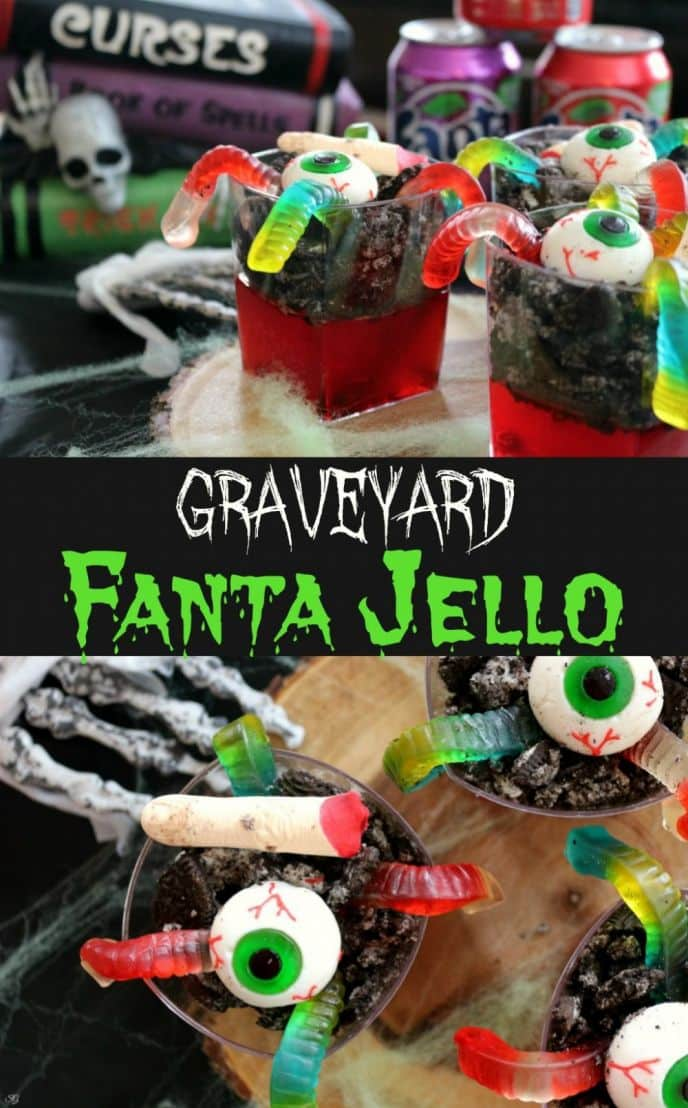 Try this Halloween graveyard jello made using Fanta soda for big bold flavor and a whole lot of fun, topped with fun Halloween gummies! Check out this easy Halloween jello recipe now! #FrightAndDelight