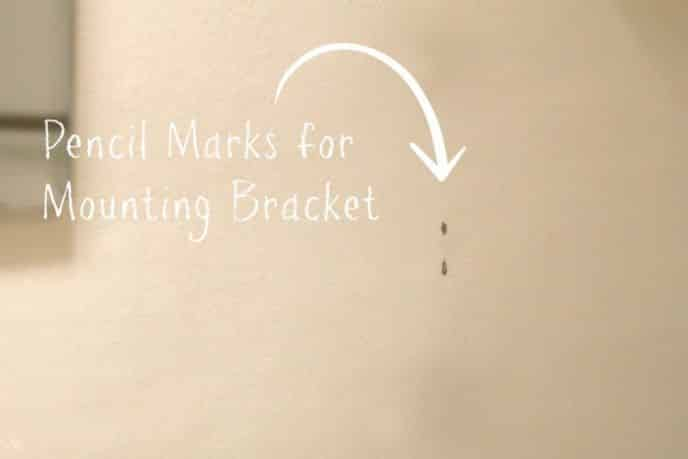 Mounting bracket pencil marks for towel ring
